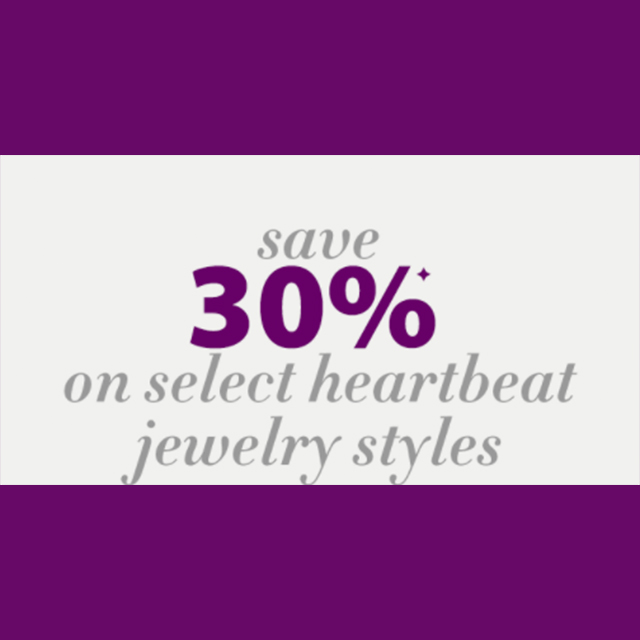 Save 30% on select heartbeat jewelry styles