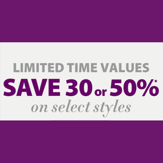 Save 30 or 50% on Select Styles