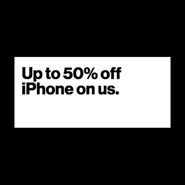 Up to 50% off iPhone on us