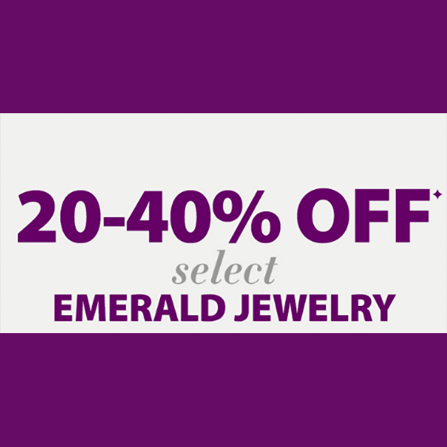 20-40% off Select Emerald Jewelry