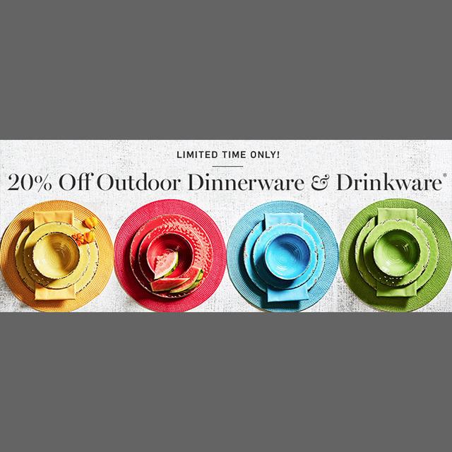 20% off Outdoor Dinnerware & Drinkware