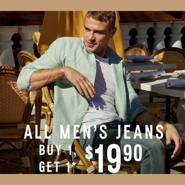 All Men's Jeans BOGO $19.90