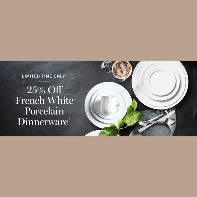 25% off French White Porcelain Dinnerware