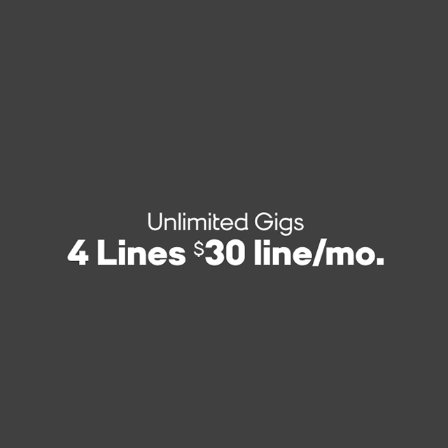 Unlimited Gigs 4 Lines $30 line/mo.