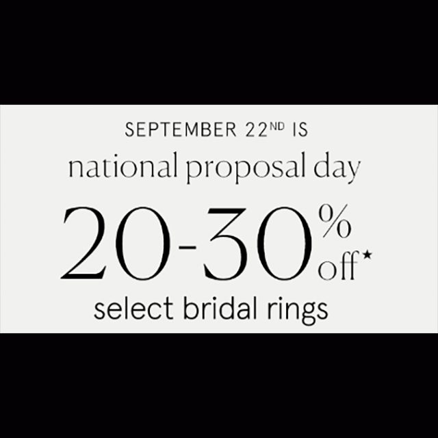 20-30% off Select Bridal Rings