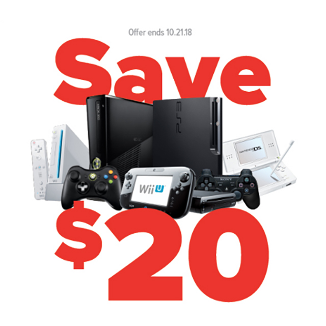 Save $20 on any pre-owned Wii U, Wii, Nintendo DS, PS3, Xbox 360 systems